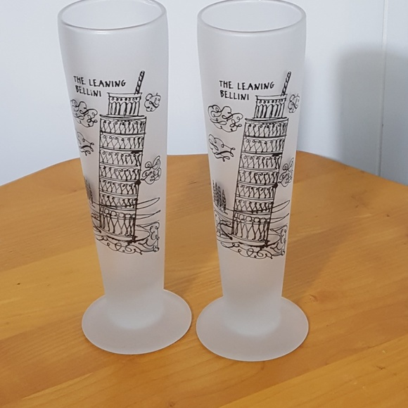 Frosted Fluted set of 2 Other - The Leaning Bellini Champagne Glasses